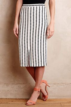 Vert-Stripe Pencil Skirt