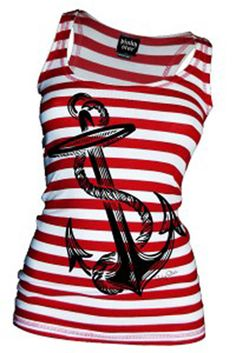 BEST SELLER in the #InkedShop - Women's Anchors Aweigh Tank Tank available online at www.inkedshop.com/women-s-anchors-aweigh-tank-white-red-by-pinky-star.html