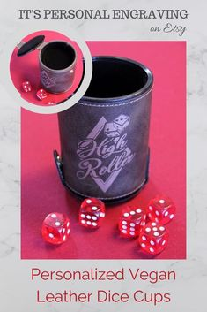 We will personalize any design you want on these vegan leather dice cups. Perfect for your logo, gift shop items, fundraiser ideas, birthday gifts and more! Large quantity discounts available.  christmas gift for poker player, liars dice cups, engraved gifts, personalized gifts for men, unique gift for dad, christmas gifts for friend, inexpensive christmas gifts, stocking stuffers, vegan leather dice cup, personalized dice cups, gifts for husband, christmas gift from kids, gifts for poker…
