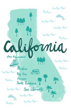 Art After Dark In Paso Robles, California - A California Life Billabong, Illustration Arte, Map Illustrations, City Of Angels, California Dreamin', City Maps, Map Art, Travel Posters, Surfing