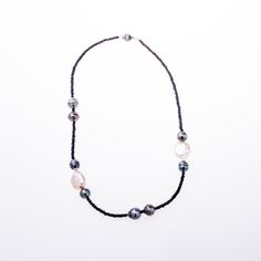 Black spinel necklace w/ Tahitian & South Sea Pearls from Wanderlust Jewels LLC for $375.00
