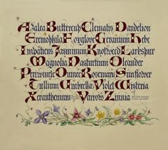 """Yukimi Annand Pacific States Floral Alphabets  9 1/2 x 11""""  Gouache, and gold on  Fabriano Rome paper  2008"""