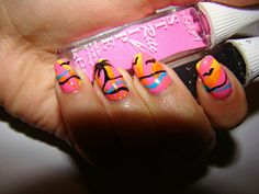 """I tried entering these into a Summer themed contest for """"It's So Easy Nail Art!"""" I uhh.. Didn't win. :'c"""