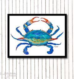 #Blue #Crab#Art Crab Painting by ArtByAlexandraNicole - Prints available in larger sizes. Just ask.