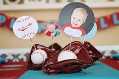 Season Opener: Baseball Party Ideas. Centerpiece ideas using @Pear Tree Greetings table decor