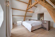 Attic Bedrooms, Master Bedroom, Loft Stairs, Interior Architecture, Interior Design, White Sheets, Small Spaces, Room Inspiration, Sweet Home