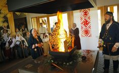 Ausma Spalviņa, left, offers puzuri (straw octahedrons that symbolize the Universe) during a ceremony in the Lokstene Shrine on May in Pļaviņas Municipality, Latvia. RNS photo by Uģis Nastevičs Solstice Festival, Summer Solstice, Folk Religion, True Religion, Conservation Movement, Sacred Groves, The Rite, Gods And Goddesses, Wooden Signs