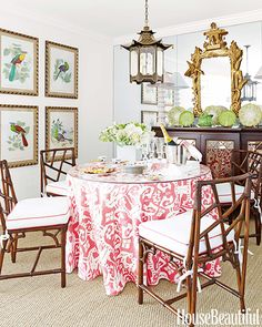 Your Guide to 5 of the Most Popular Design Styles // Chinoiserie, dining room, bamboo chairs, tablecloth