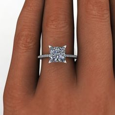 Moissanite Princess Cut Enement Ring | 69 Best Forever Brilliant Moissanite Engagement Rings Images