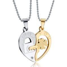 dace53c920 Fashion Accessories Jewelry Gift Titanium Two Half Heart Puzzle Pendant  Lovers Couple Pendant Necklace for Men Women