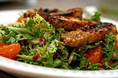 vegan citrus salad with pan-browned tempeh recipe