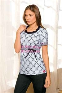 """Dickies Smocked Round Neck Scrub Top in """"Summer Afternoon"""" 82769C-SMUAF A Junior fit smocked round neckline top features an adjustable front tie, back elastic, side angled pockets and side vents. Center back length: 26 1/2"""". $22.05 #scrubs 3scrubcouture #nurses"""