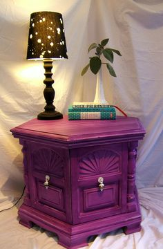 Hexagon End Table in Purple Shabby Chic. I think my grandma has this table! Refurbished Furniture, Upcycled Furniture, Furniture Makeover, Painted Furniture, Diy Furniture, Purple Furniture, End Table Makeover, All Things Purple, My New Room