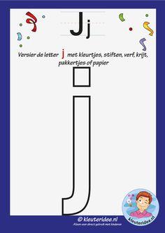 versier de letter j, kleuteridee, free printable