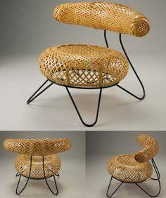 bamboo basket chair by isamu noguchi Bamboo Furniture, Cool Furniture, Furniture Design, Bamboo Art, Bamboo Crafts, Bamboo Design, Wood Design, High Back Dining Chairs, Bamboo Basket