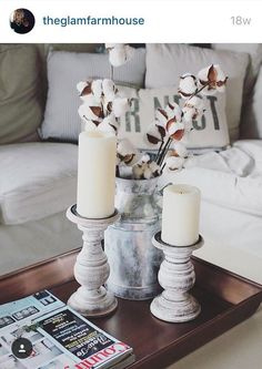 Country rustic home decor ideas living room decor rustic farmhouse style coffee table vignette with cotton stems farmhouse country rustic home decor ideas Farmhouse Entryway Table, Farmhouse Style Coffee Table, Country Farmhouse Decor, Rustic Walls, Rustic Wall Decor, Cotton Decor, Decorating With Cotton, Boho Home, Decorating Coffee Tables