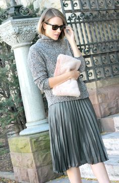 There's something so effortless about pairing casual pieces with more feminine polished styles.  Though I would normally wear a cozy oversized sweater like this with jeans & boots, I think it creates an interesting silhouette when worn over this metallic midi skirt.
