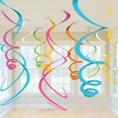 HANGING SWIRLS PARTY DECORATION (12pk) - Blue, Pink, White, Multi Coloured | eBay