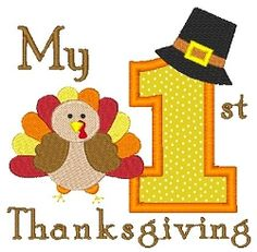 1st Thanksgiving Applique - 4x4 | Baby | Machine Embroidery Designs | SWAKembroidery.com Stitch-Ville