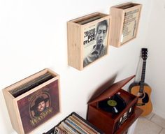 vinyl record storage display frame by RECORDBOXStudio on Etsy Vinyl Storage, Storage Boxes, Vinyl Record Display, Record Crate, Diy Wood Box, Woodworking Toys, Diy Holz, Wood Toys, My New Room