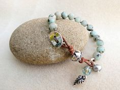 Leather Aqua Stone Bracelet Hand Knotted Sesame Jasper Silver Fern On And Pearl