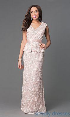 Long V-Neck Peplum Formal Dress at SimplyDresses.com