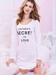 The Angel Sleep Tee by Victoria's Secret - 2/$49- in pink flirt stripe & black angels (this pink and white striped one, and the all black one)