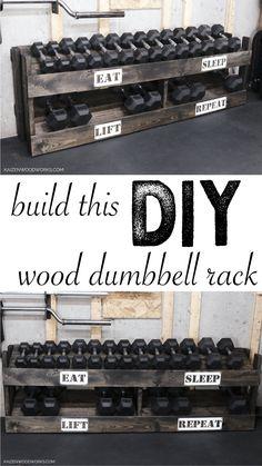 Home Made Gym, Diy Home Gym, Home Gym Decor, Diy Dumbbell, Dumbbell Rack, Homemade Gym Equipment, Diy Gym Equipment, Home Gym Basement, Gym Room At Home