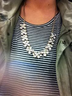 Diamond necklace, striped and army green jacket. Love this mix