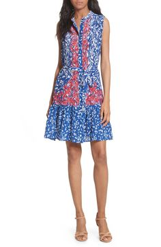 Main Image - SALONI Tilly Print Silk Fit & Flare Dress