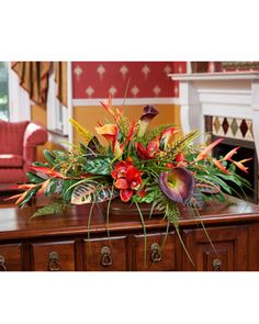 Tropical orchid, calla lily and croton leaves low centerpiece silk flower arrangement Tropical Flower Arrangements, Artificial Floral Arrangements, Artificial Orchids, Faux Flower Arrangements, Tropical Flowers, Tropical Colors, Tropical Decor, Silk Orchids, Silk Flowers