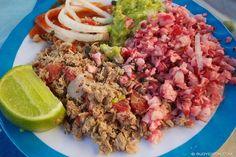 Salpicon de carne y rabano co guacamol.