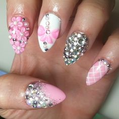 3d nails  3d flowers - 3d bow - rhinestones - pearls - pink