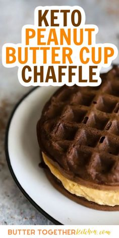 This chaffle from Butter Together Kitchen is the perfect sweet treat when you're craving peanut butter! The recipe is so quick and easy to make that it will quickly become your go-to keto dessert staple. Low carb dessert doesn't get much better than this! #ketochaffle #ketodiet #ketodessert #chaffle #keto #lowcarb #chocolate #peauntbutter #desserts