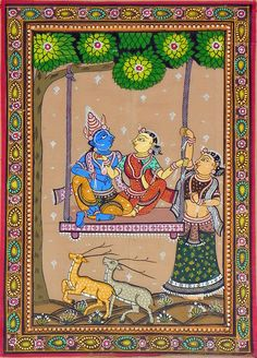 Radha Krishna on a Swing with Gopini (Orissa Paata Painting on Tussar Silk - Unframed))