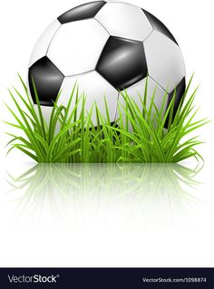 Soccer ball on grass Royalty Free Vector Image , Soccer Theme Parties, Football Cakes, Cake Clipart, Grass Vector, Sports Birthday, Unicorn Cake Topper, Cute Cartoon Girl, Nautical Party, Liverpool Football Club