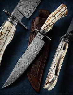 Portfolio on Behance Damascus Blade, Damascus Knife, Knife Photography, Photography Portfolio, Unique Knives, Handmade Knives, Knives And Swords, Custom Leather, Custom Knives