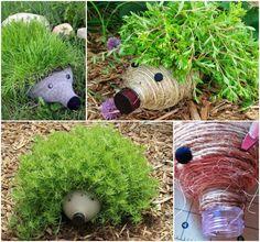 Plastic Bottle Hedgehog Planters Are Adorable