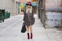Erin Fetherston Dress, velvet booties, hat, fall fashion, maternity, fashionable pregnancy