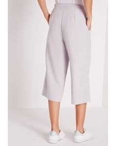 Missguided | Tie Waist Crepe Culottes Silver Grey | Lyst