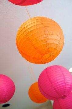 Pink/Orange lanterns for Tutus and Ties Party decor