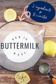 Learn how to make buttermilk with this simple recipe. It's really easy, only takes 10 minutes and 2 ingredients. #buttermilksubstitute #cookingsubstitute #substitutes #buttermilk