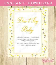 Don't Say Baby Baby Shower Game Printable Yellow and Grey Don't Say Baby Sign Diaper Pin Clothes Pin Game - Instant Download Polka Dots by TppCardS #tppcards
