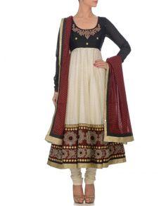 Black & White Anarkali Suit
