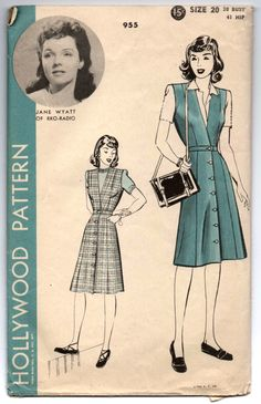 """1940's Hollywood One-Piece Dress with Button Detail on Skirt Pattern - Bust 38"""" - No. 955 by backroomfinds on Etsy"""