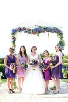 Pretty shades of purple bridesmaids