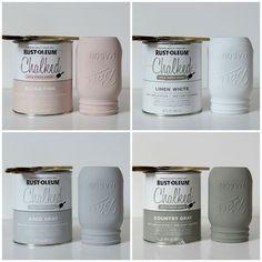 Rust-Oleum chalk paint mason jars; country chic colors