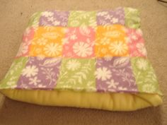 Homemade Fleece Blanket folds to pillow   Keeping all the layers of the blanket together, fold the pillow inside ...