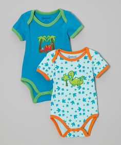 Another great find on #zulily! Blue & Green Dinosaur Bodysuit Set - Infant by Spencer's #zulilyfinds