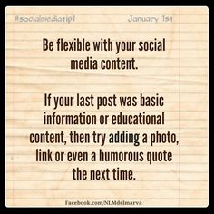 A social media tip to start off the new year: variety = good content. https://www.facebook.com/NLMDelmarva  #qualitycontent #socialmedia